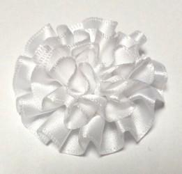 Gėlė iš satininės juostelės Balta