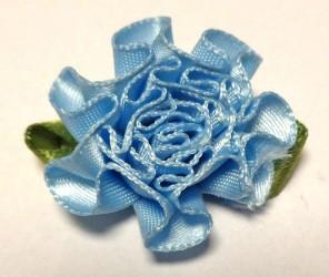 Gėlė iš satininės juostelės Mėlyna