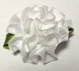 Flower from satin ribbon White