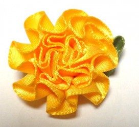 Flower from satin ribbon Orange