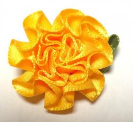 Gėlė iš satininės juostelės Oranžinė