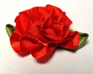 Flower from satin ribbon Red