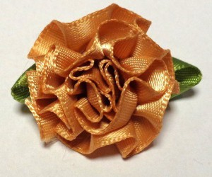 Flower from satin ribbon Brown