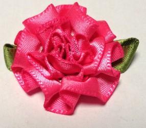 Gėlė iš satininės juostelės Rožinė