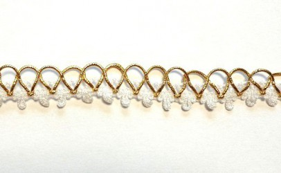 Lace trim Gold/white (1 m)