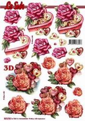 Popierius 3D dekupažui (širdelė)