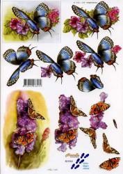Popierius 3D dekupažui (drugeliai)
