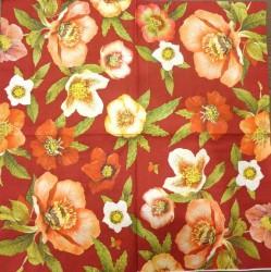 Servetėlė raudonos gėlės