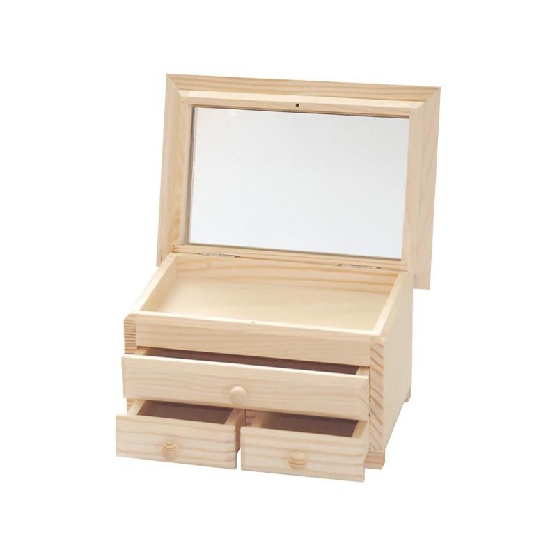 Dėžutė su veidrodžiu (3 stalčiai)