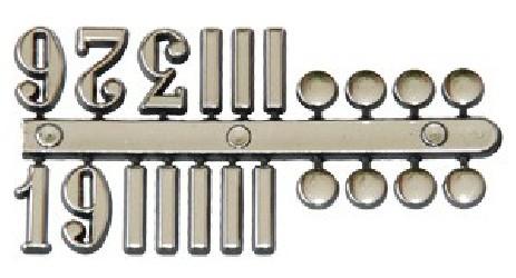 Skaičiai laikrodžiui (sidabro spalva)
