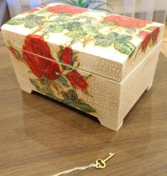 Wooden box with key