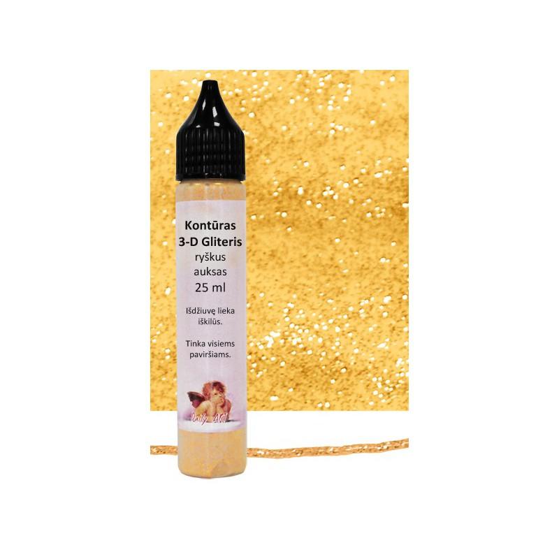 Kontūras 3–D gliteris Ryškus auksas (25 ml)