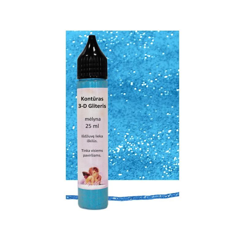 Kontūras 3–D gliteris Mėlynas (25 ml)