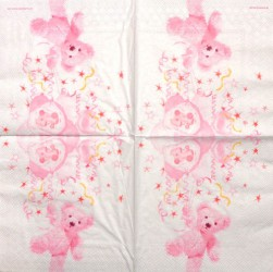 Servetėlė Meškiukas (rožinis)