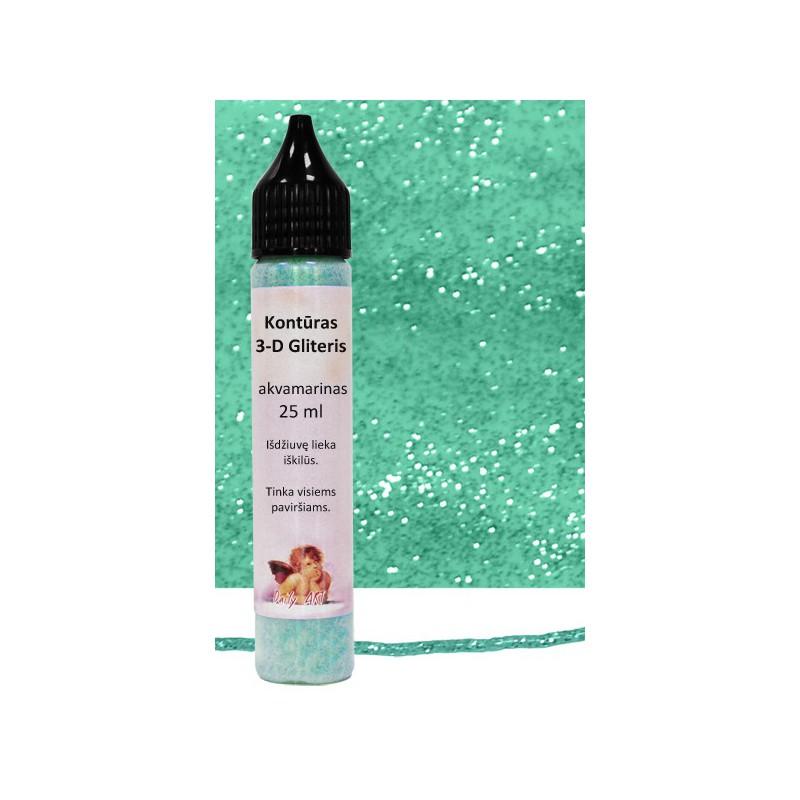 Kontūras 3–D gliteris Akvamarinas (25 ml)