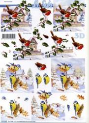 Popierius 3D dekupažui (paukščiai)