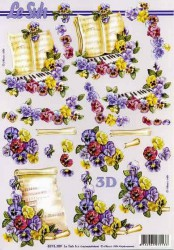 Paper for 3D decoupage (music and flowers)