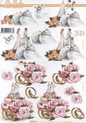 Popierius 3D dekupažui (vestuvės)