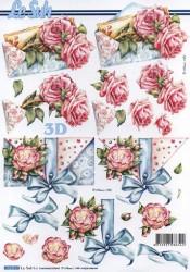 Popierius 3D dekupažui (vokas ir rožės)