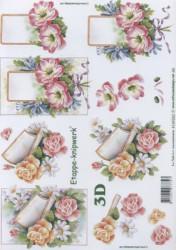 Popierius 3D dekupažui (gėlės)