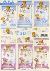 Popierius 3D dekupažui (meškinas ir meškutė)
