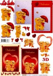 Popierius 3D dekupažui (meškiukų meilė)