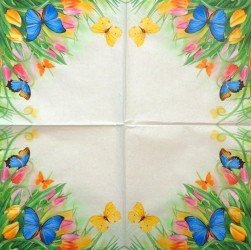 Napkin Butterflies and tulips