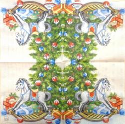 Servetėlė Kalėdų eglutė ir arkliukas