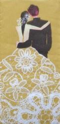 Popierinė nosinaitė Vestuvės (auksinė)