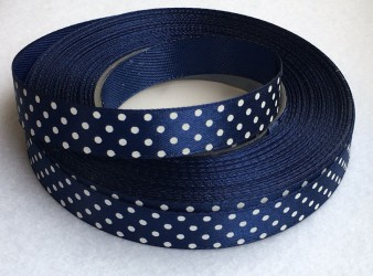 Ribbon dotted Dark blue (1 m)