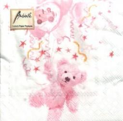 Servetėlių pakelis Meškiukas (rožinis)