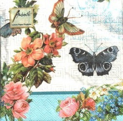 Napkins Flowers and butterflies