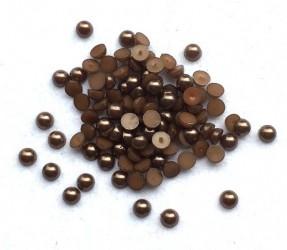 Klijuojami akriliniai perliukai - rudi (6 mm, apie 100 vnt)