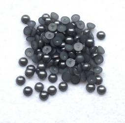 Klijuojami akriliniai perliukai - pilki (6 mm, apie 100 vnt)