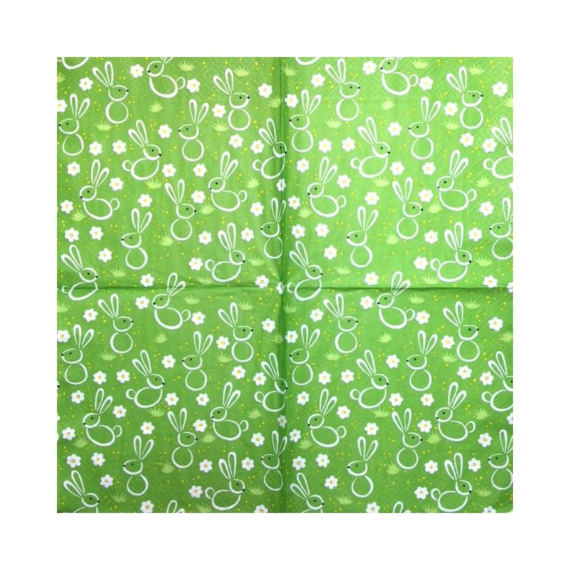 Servetėlė Triušiai (žalias fonas)