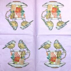 Servetėlė Puodelis su paukščiais