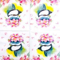Servetėlė Paukštis su gėlėmis