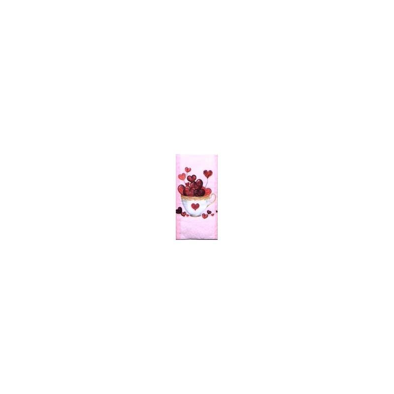 Popierinė nosinaitė Širdelės puodelyje
