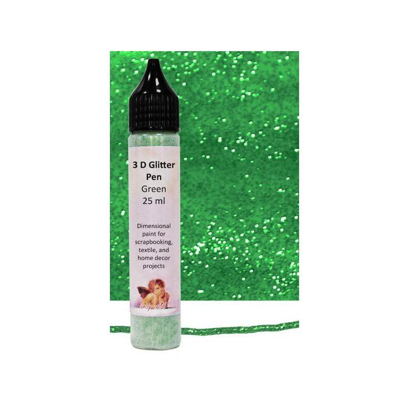 Kontūras 3–D gliteris Žalias (25 ml)