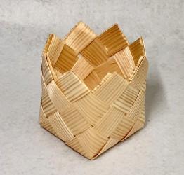 Krepšelis iš medžio drožlių (stiklinei)