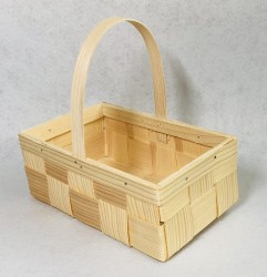 Krepšelis iš medžio drožlių (su rankena)