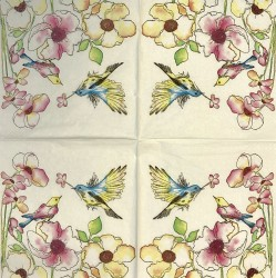 Napkin Birds and flowers