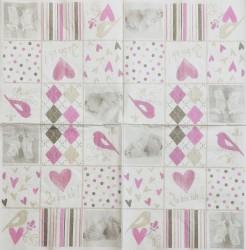 Servetėlė Pėdutės ir ornamentai (rožiniai)
