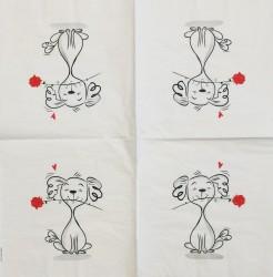 Servetėlė Šuniukas su rože