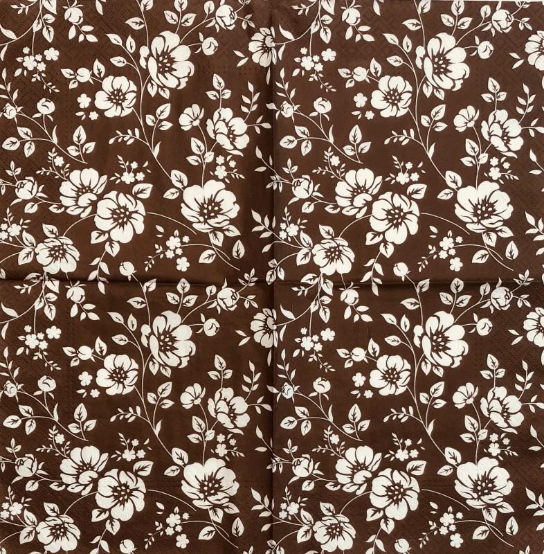 Servetėlė Gėlės (rudas fonas)