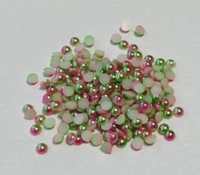 Pusiniai akriliniai perliukai Rožinė/žalia (5 mm apie 200...