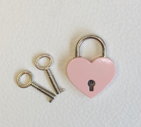 Lock with two keys Pink