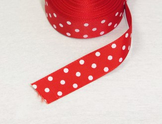 Satin ribbon dotted Red 1m