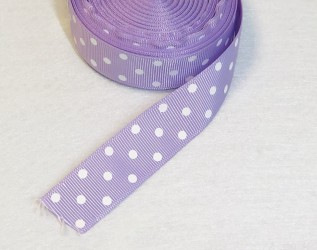 Satin ribbon dotted light violet 1m