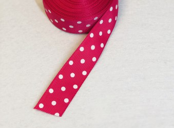 Satin ribbon dotted Dark pink 1m